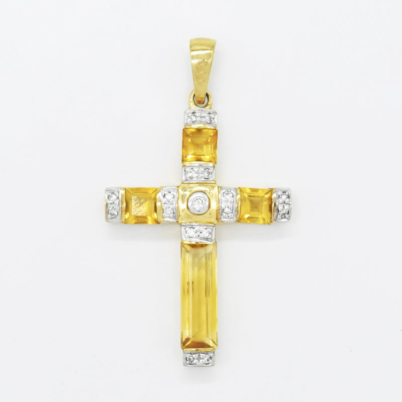 10k Yellow Gold Estate Citrine & Diamond Cross Pendant