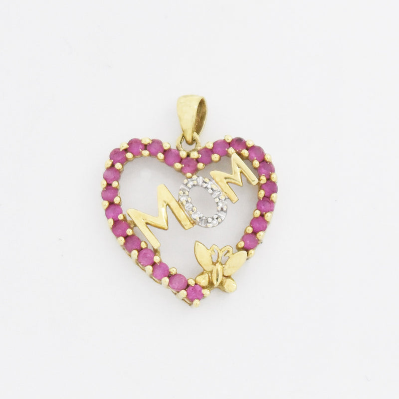 10k Yellow Gold Estate Ruby & Diamond Open Mom Heart Pendant