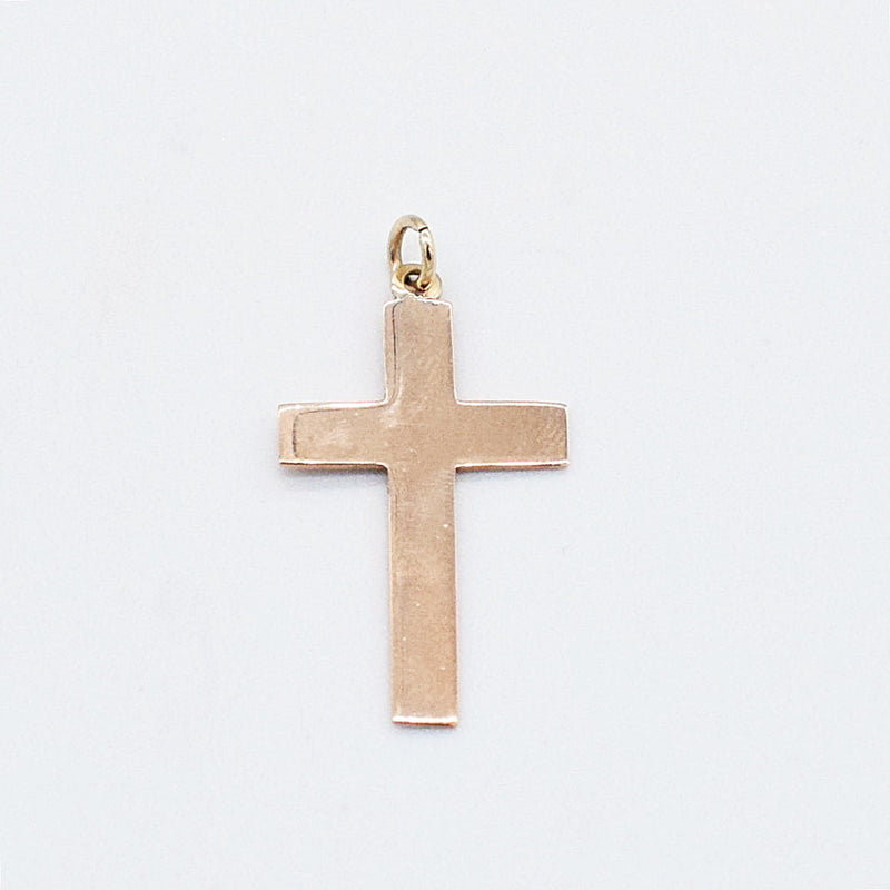 "9ct Yellow Gold Antique 1 1/4"" Plain Cross Pendant"