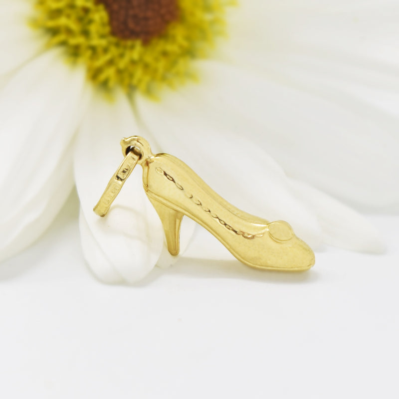 14k Yellow Gold Estate Textured High Heel Shoe Pendant/Charm