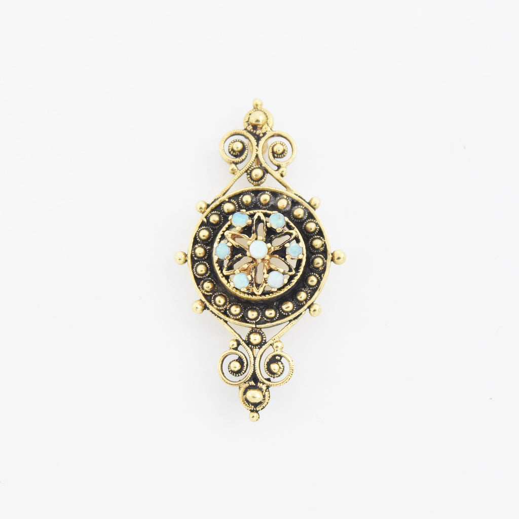 14k Yellow Gold Vintage Ornate Fire Opal Brooch/Pin