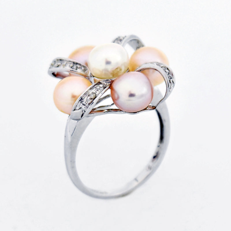 14k White Gold Estate Pearl & Diamond Bow Design Ring Size 7