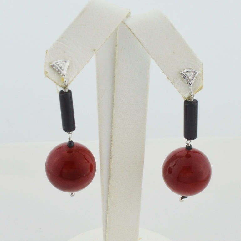 14k White Gold Dangle/Drop Diamond & Red Coral Ball Post Earrings