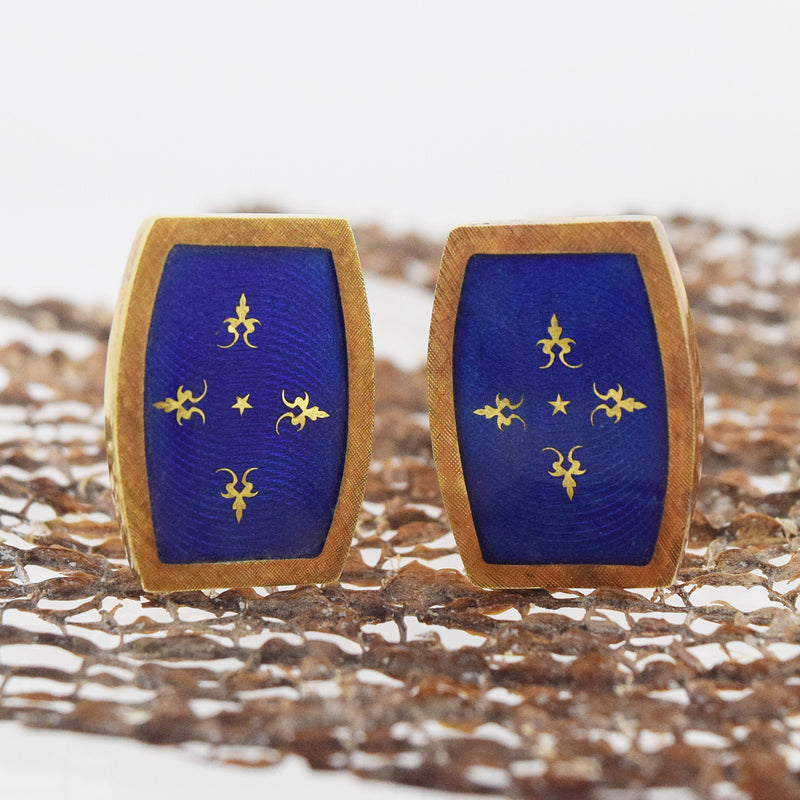 18k Yellow Gold Antique Blue Enamel Cufflinks