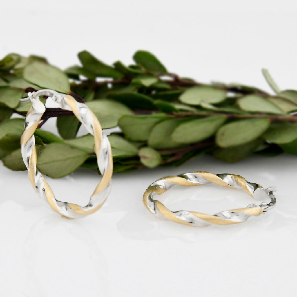 14k Yellow & White Gold Estate Brushed Twisted Hoops/Hoop Earrings