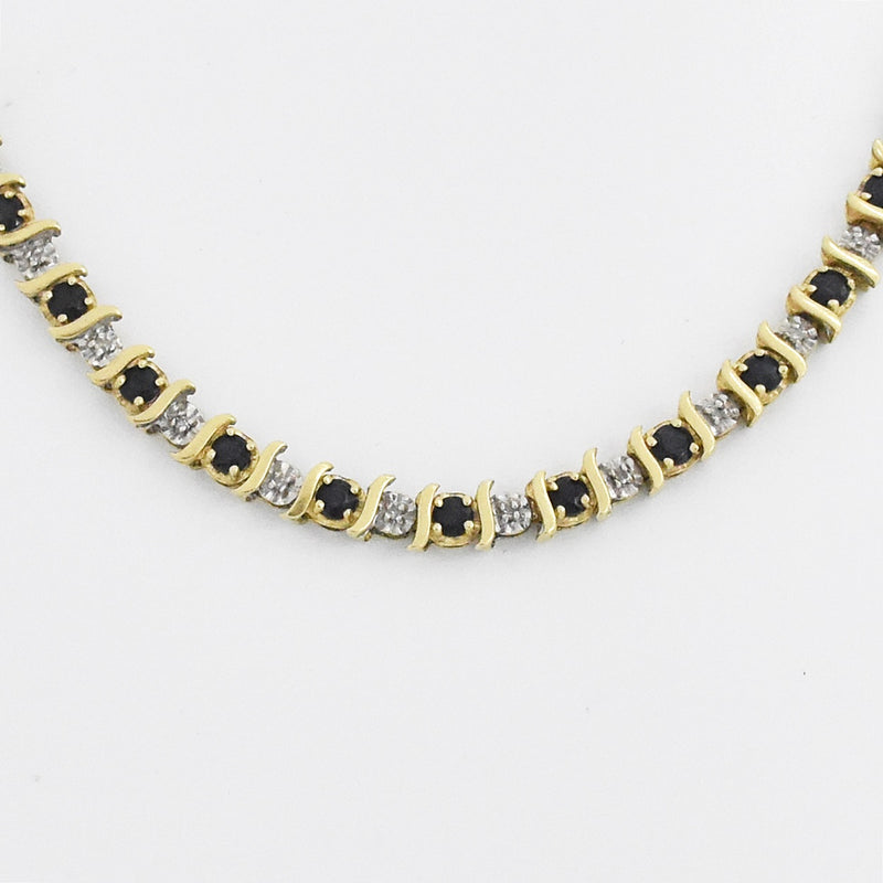 "14k Yellow Gold 7.5"" Blue & White Sapphire Tennis Bracelet"