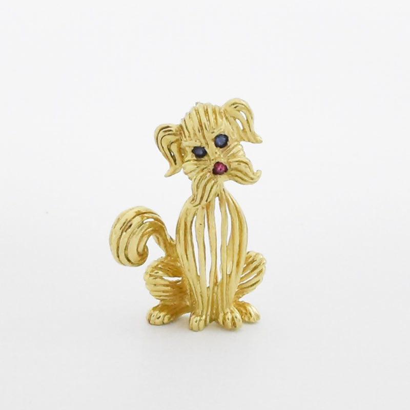 14k YG Open Work Carved Sapphire & Ruby Sitting Dog/Puppy Pin