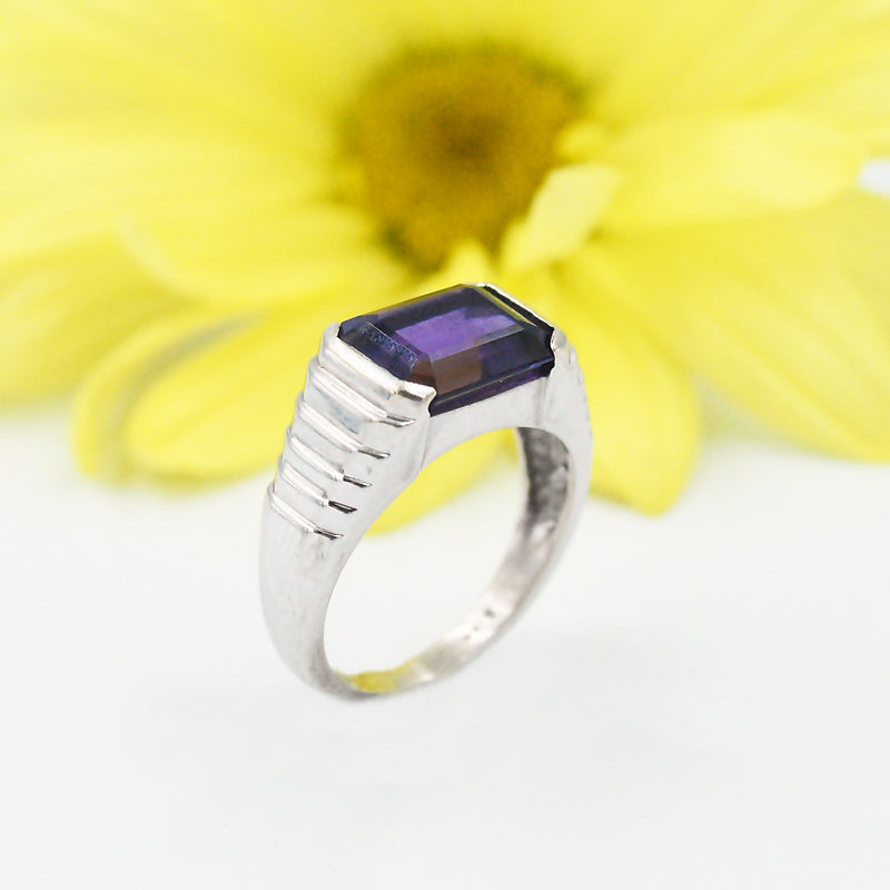 14k White Gold Estate Stair Step Amethyst Solitaire Ring Size 6.5