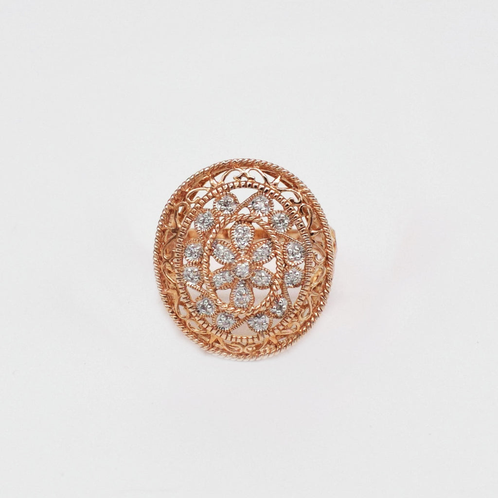 New 14k Rose Gold Filigree Oval Diamond Cocktail Ring Size 6