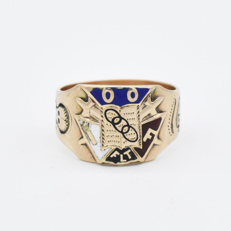 10k Yellow Gold Antique Enamel Masonic Odd Fellows Ring Size 9.5