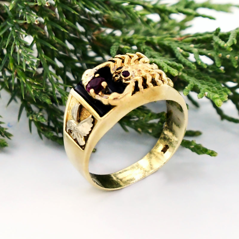 14k Yellow Gold Black Onyx & Ruby Carved Scorpion Ring Size 10.5