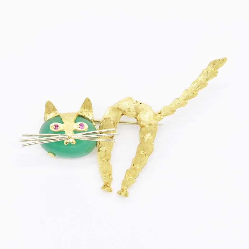 18k Yellow Gold Estate Textured Jade & Ruby Cat/Kitten Animal Pin