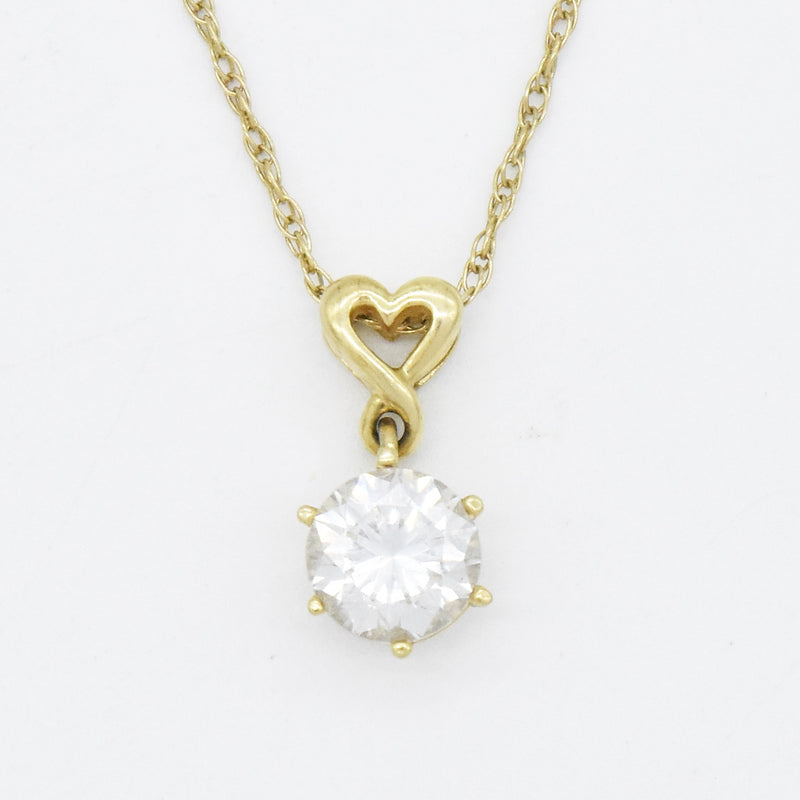 "14k Yellow Gold Estate 18.5"" CZ Drop/Dangle Necklace"