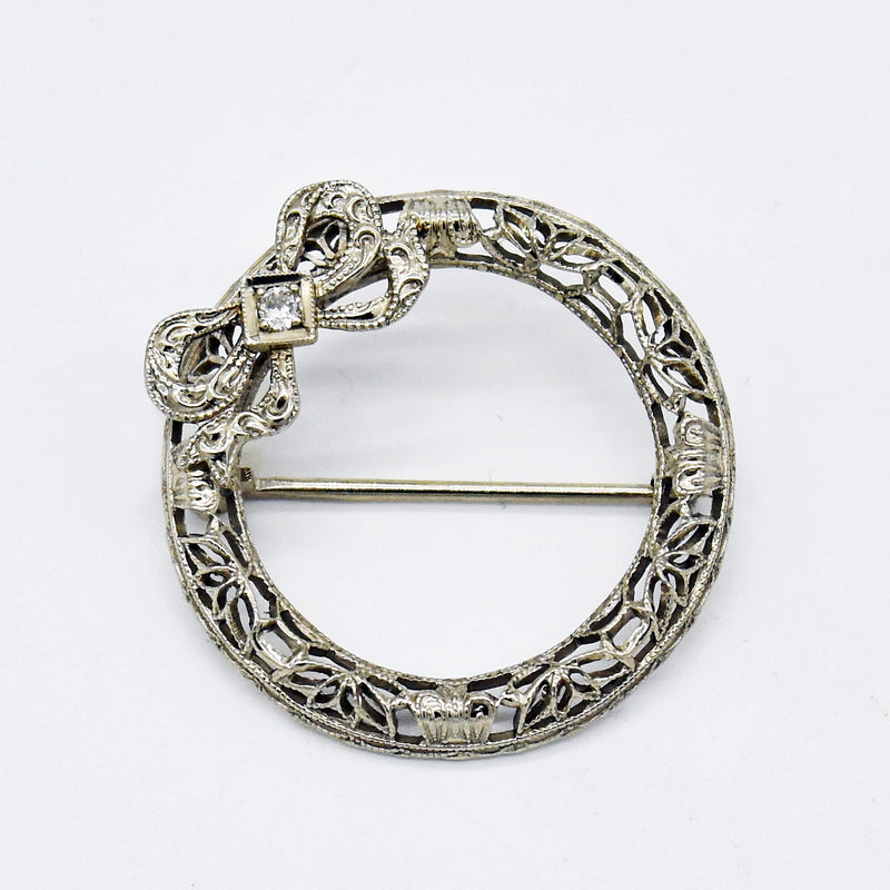 10k White Gold Antique Filigree Diamond Circle Bow Pin/Brooch