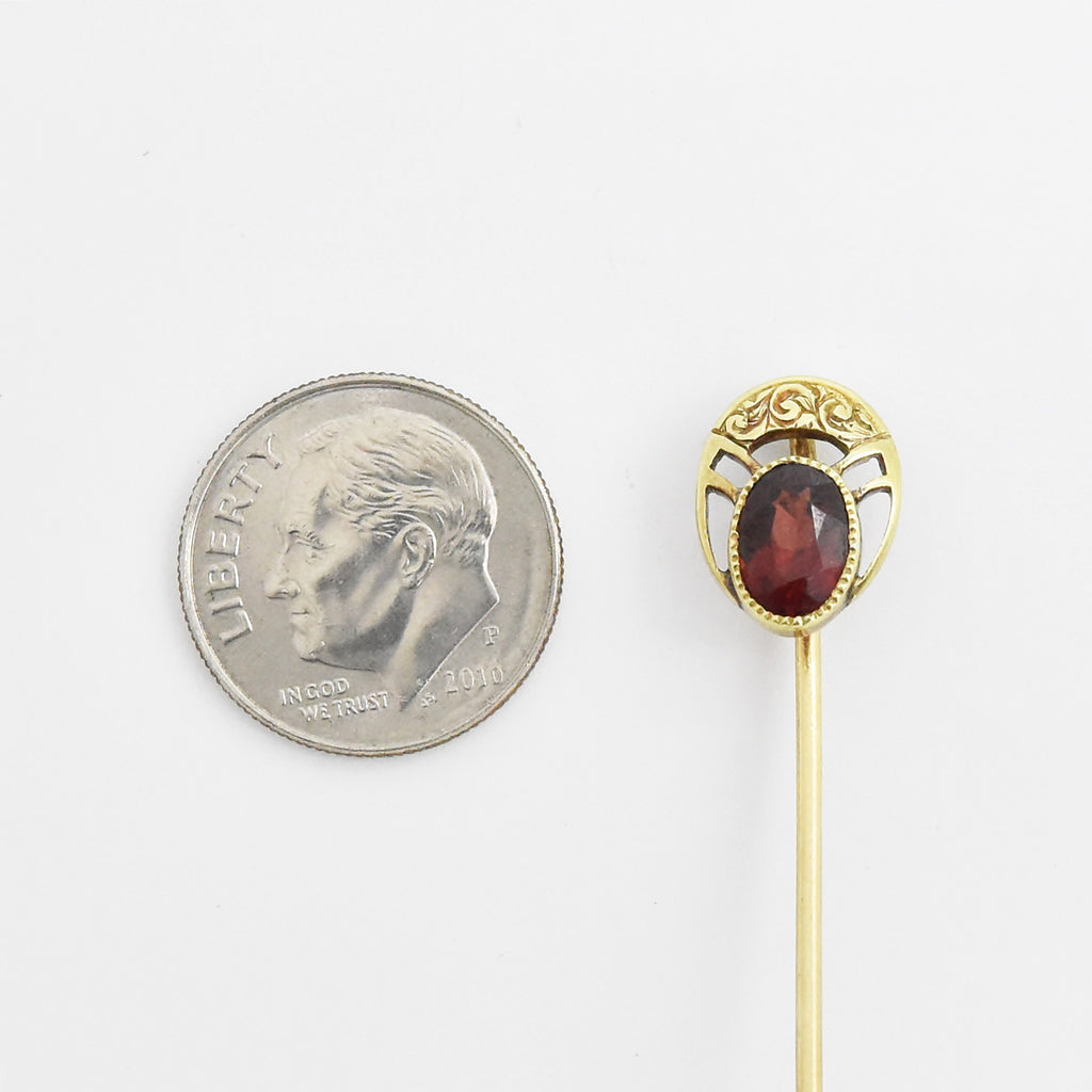 14k Yellow Gold Antique Open Work Garnet Stick Pin