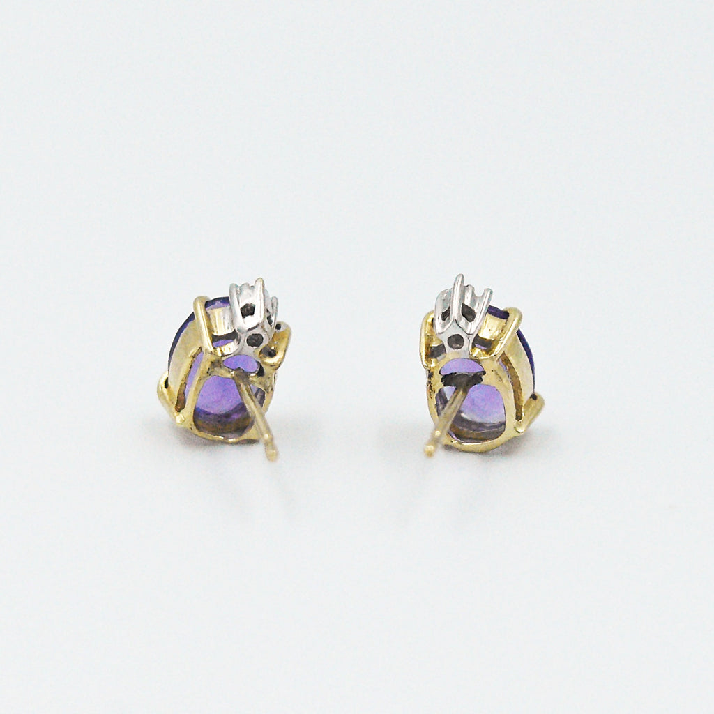 14k Yellow Gold Estate Oval Amethyst & Diamond Post Earrings