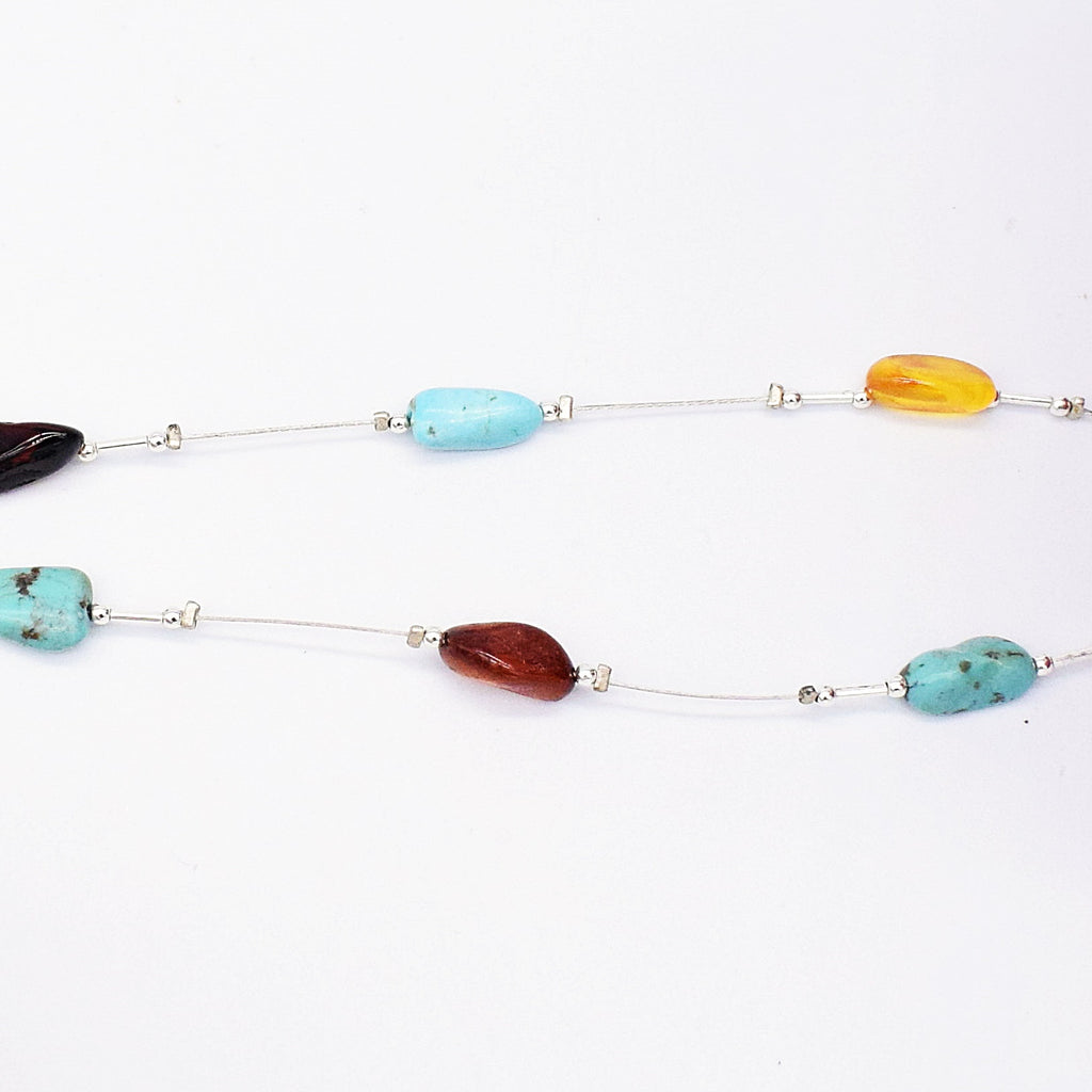 "NEW Sterling Silver Valerio 21"" Turquoise & Amber Dangle/Drop Necklace"
