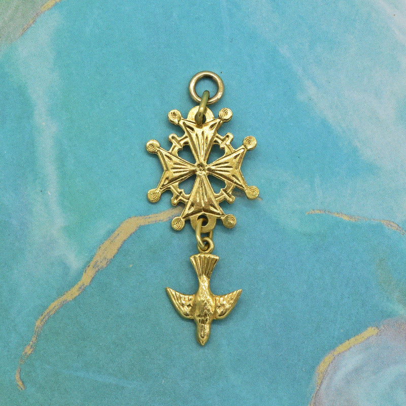 18k Yellow Gold Estate Open Work Cross w/ Holy Spirit Dove Pendant