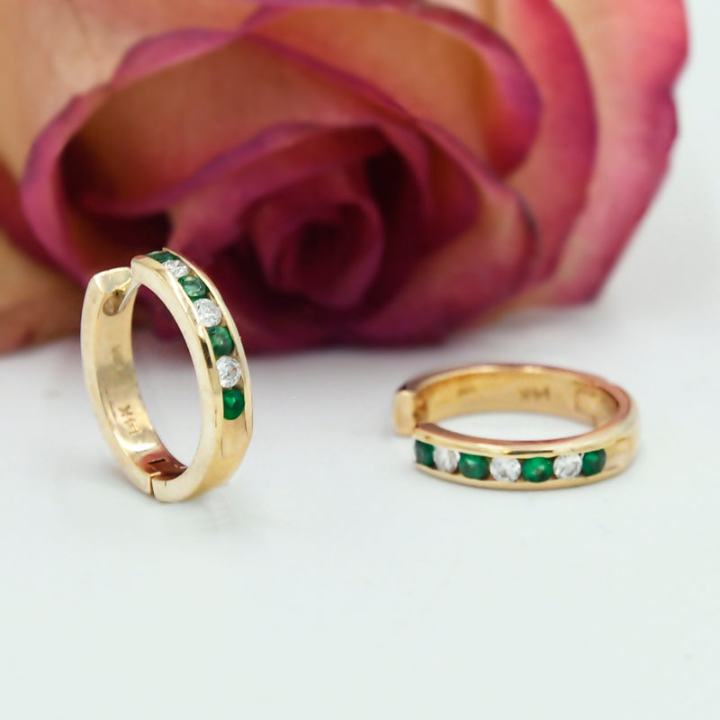 14k Yellow Gold Estate Diamond & Emerald Huggies/Huggie Earrings
