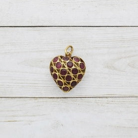 18k Yellow Gold Estate Double Sided Sapphire & Ruby Heart Pendant