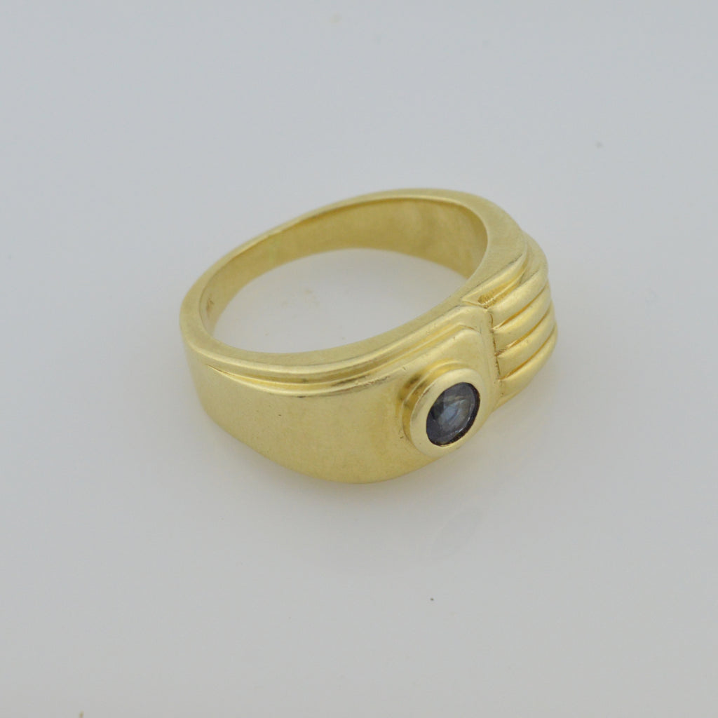 14k Yellow Gold Vintage Sapphire Statement Ring Size 10