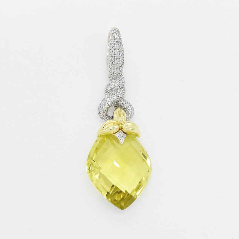Sterling Silver 925 & 18k Gold Ann King Citrine Diamond Pendant