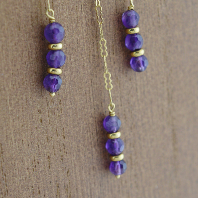 14K Yellow Gold Purple Amethyst Beads Dangle/Drop Chain/Necklace