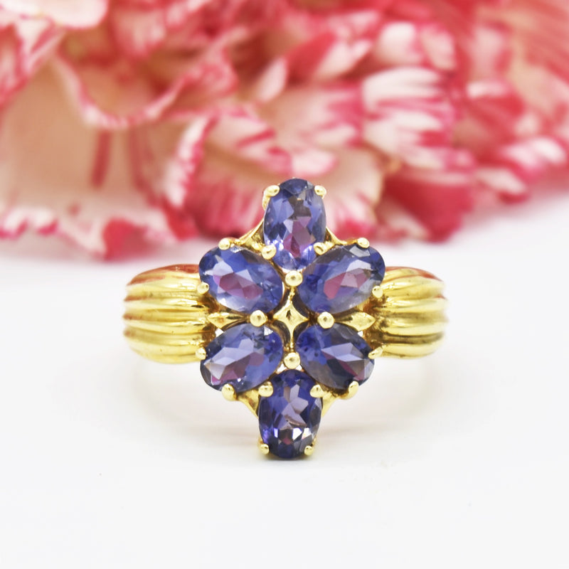 14k Yellow Gold Estate Multi Tanzanite Cocktail Ring Size 8.5