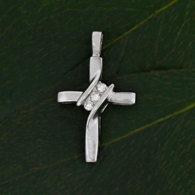 10k White Gold Estate Diamond Cross Religious Pendant