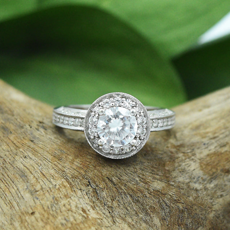 14k White Gold Estate CZ Fancy Cocktail Ring Size 6.25