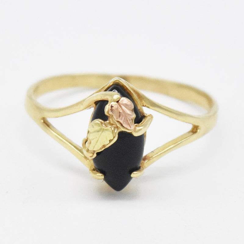 10k Tri Colored Gold Estate Open Band Black Onyx Ring Size 11.25