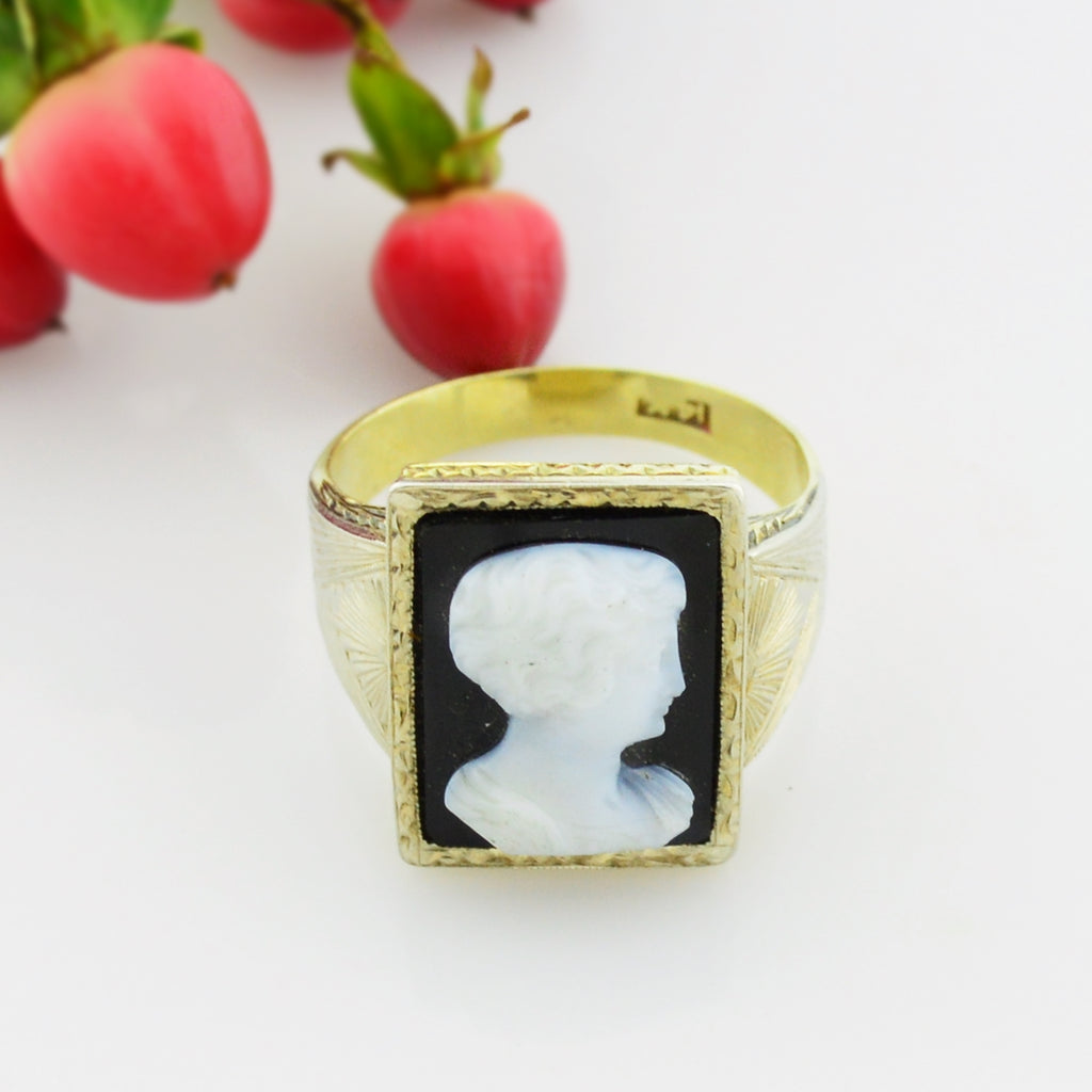 14k Yellow Gold Vintage Ornate Cameo Ring Size 11