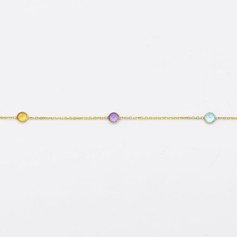 "14k Yellow Gold Estate 16"" Multi Gemstone Choker Necklace"