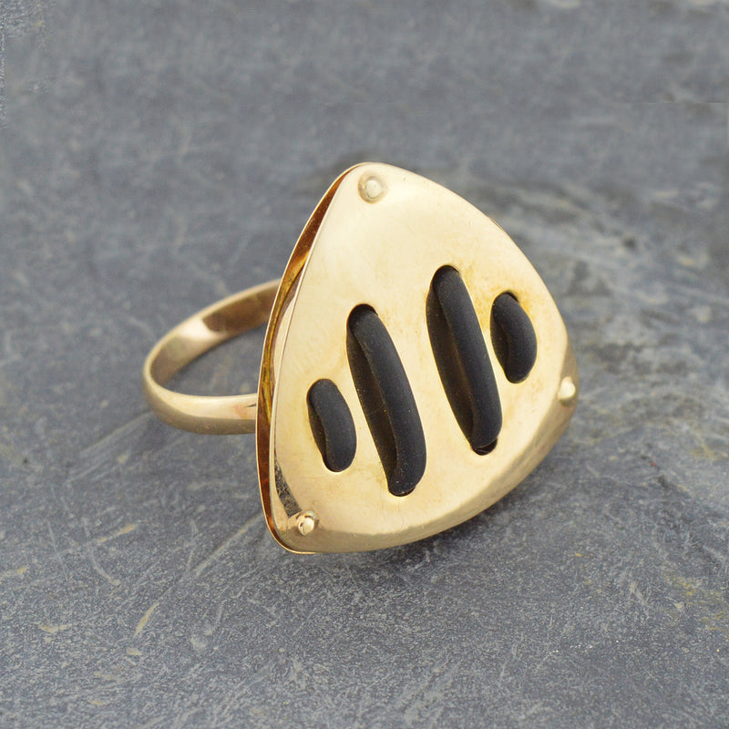 14k Yellow Gold Mid Century Modern Statement Ring Size 7