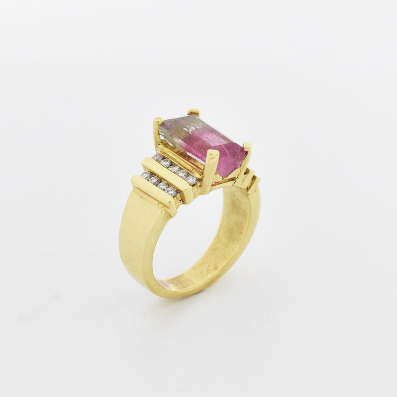 14k Yellow Gold Watermelon Tourmaline & Diamond Ring Size 7