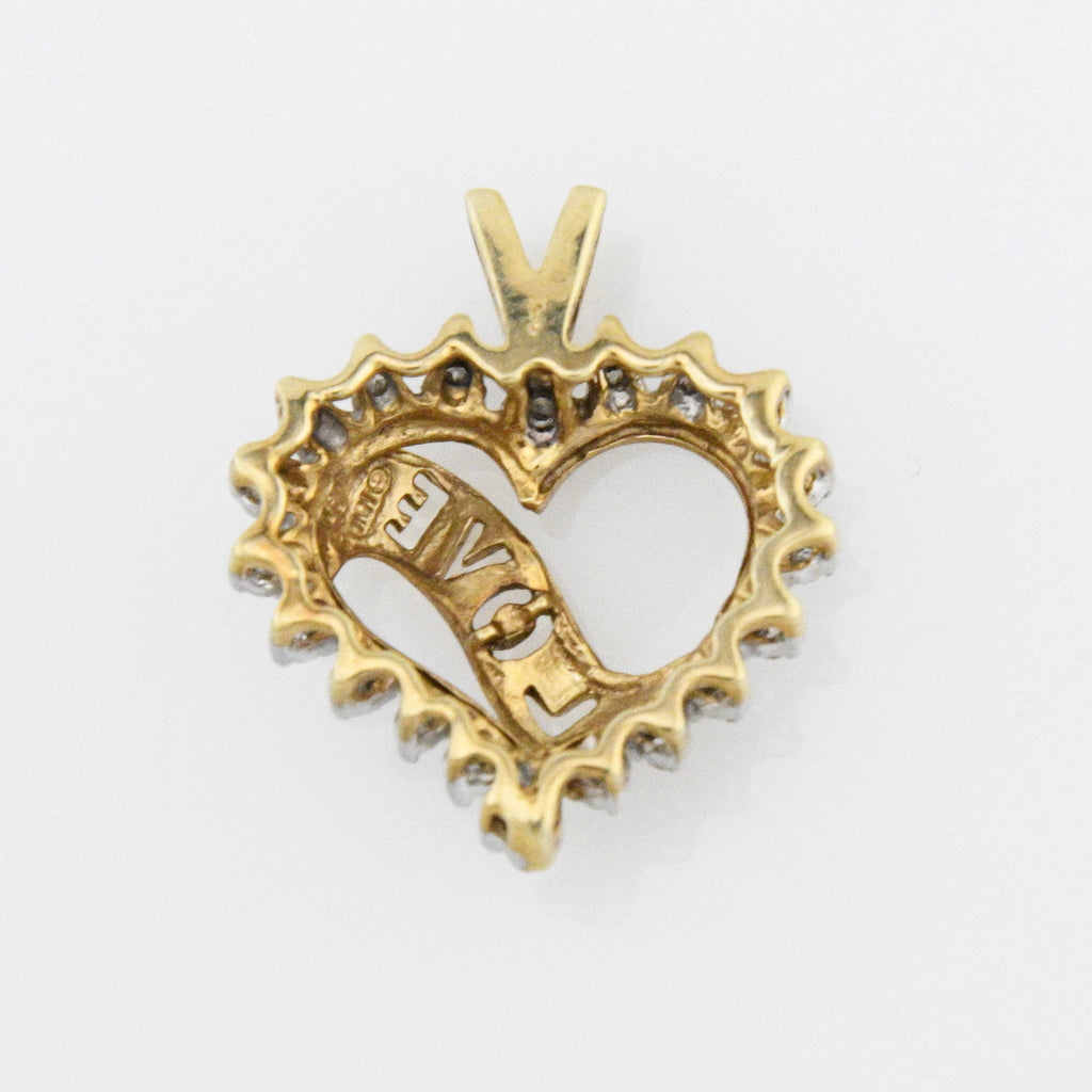 10k Yellow Gold Estate Open Work Love Diamond Heart Pendant