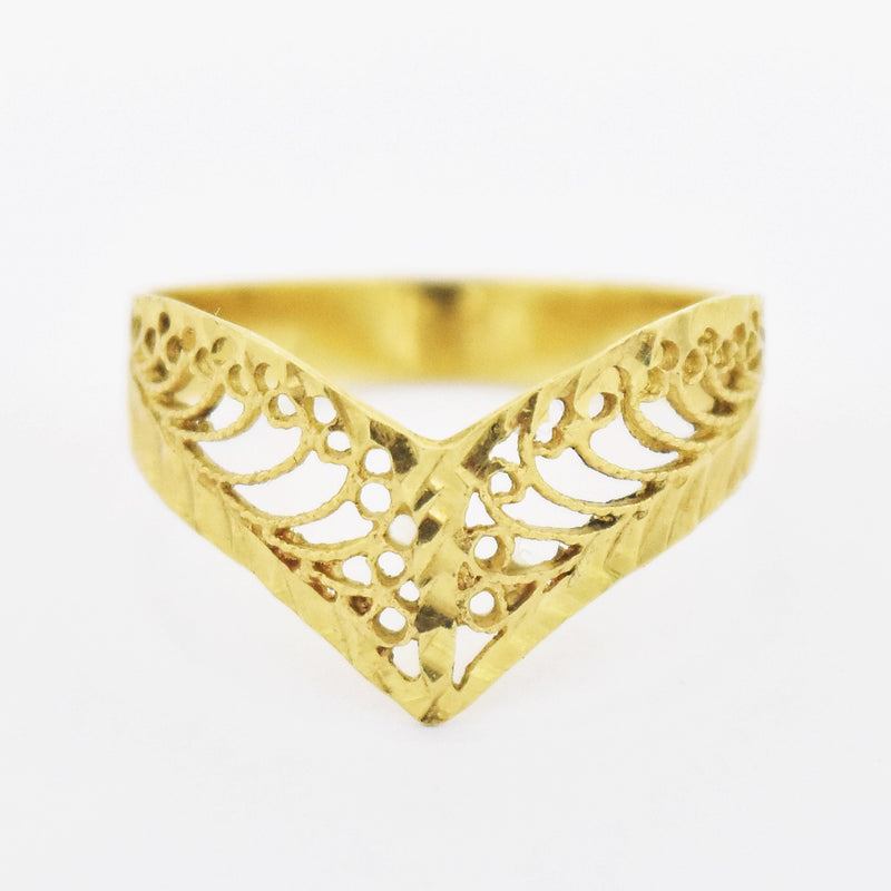 14k Yellow Gold Estate Diamond Cut Filigree V Ring Size 7.25