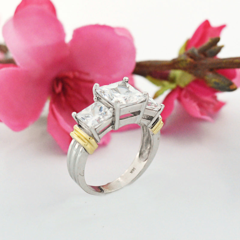 14k White & Yellow Gold Estate 3 Tier CZ Cocktail Ring Size 8
