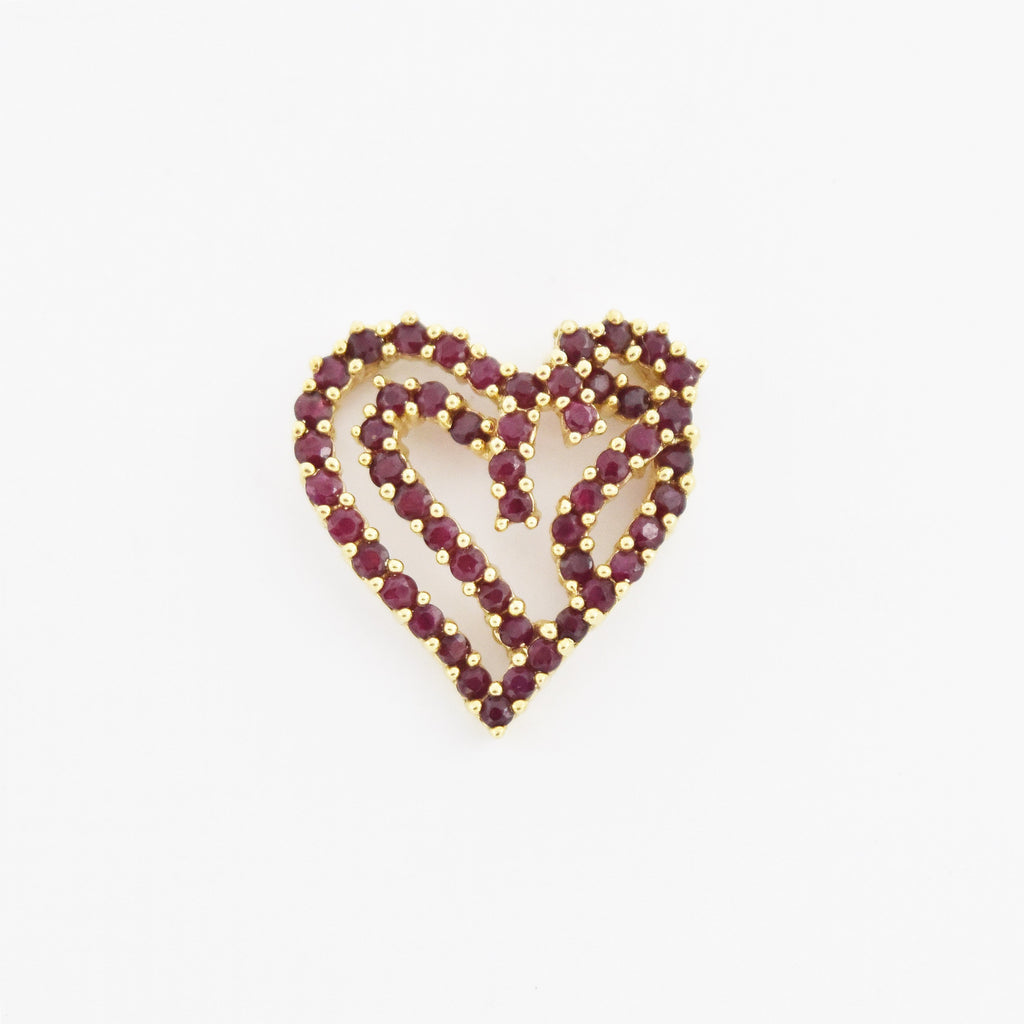 14k Yellow Gold Estate Open Heart Ruby Heart Pendant