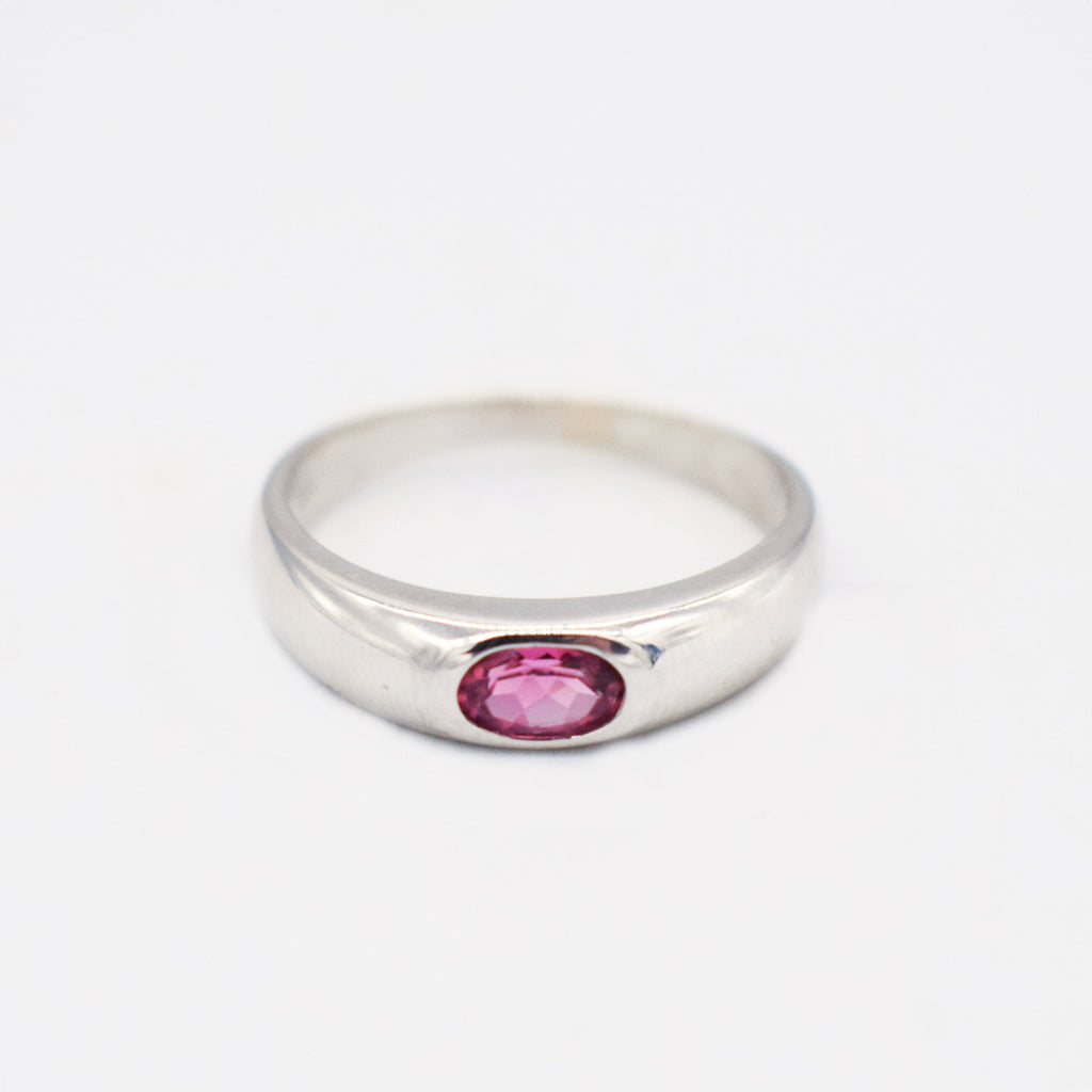 14k White Gold Estate Pink Iolite Band/Ring Size 9