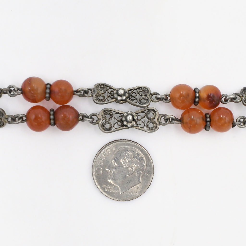 Sterling Silver 925 Antique Ornate Carved Carnelian Necklace 17 3/4""
