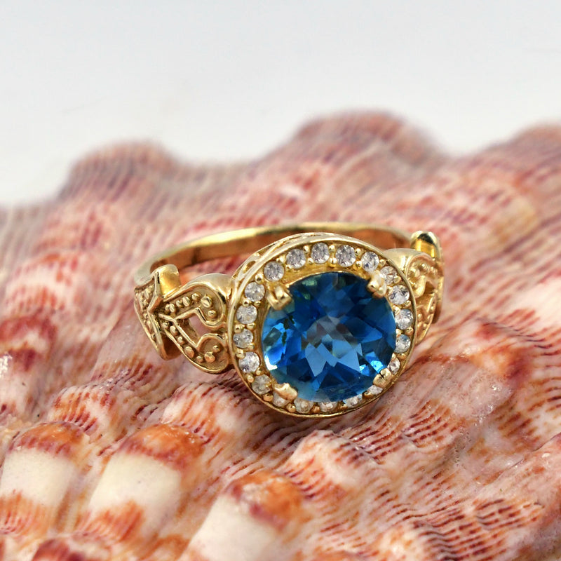 14k Yellow Gold Estate Ornate Blue & White Topaz Ring Size 11