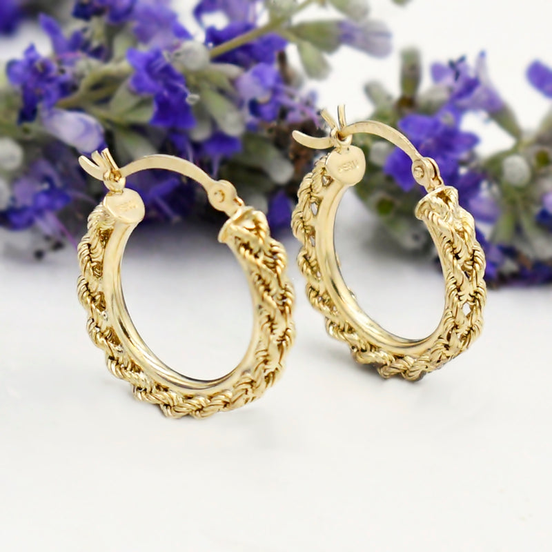 14k Yellow Gold Estate Rope Style Hoops/Hoop Earrings