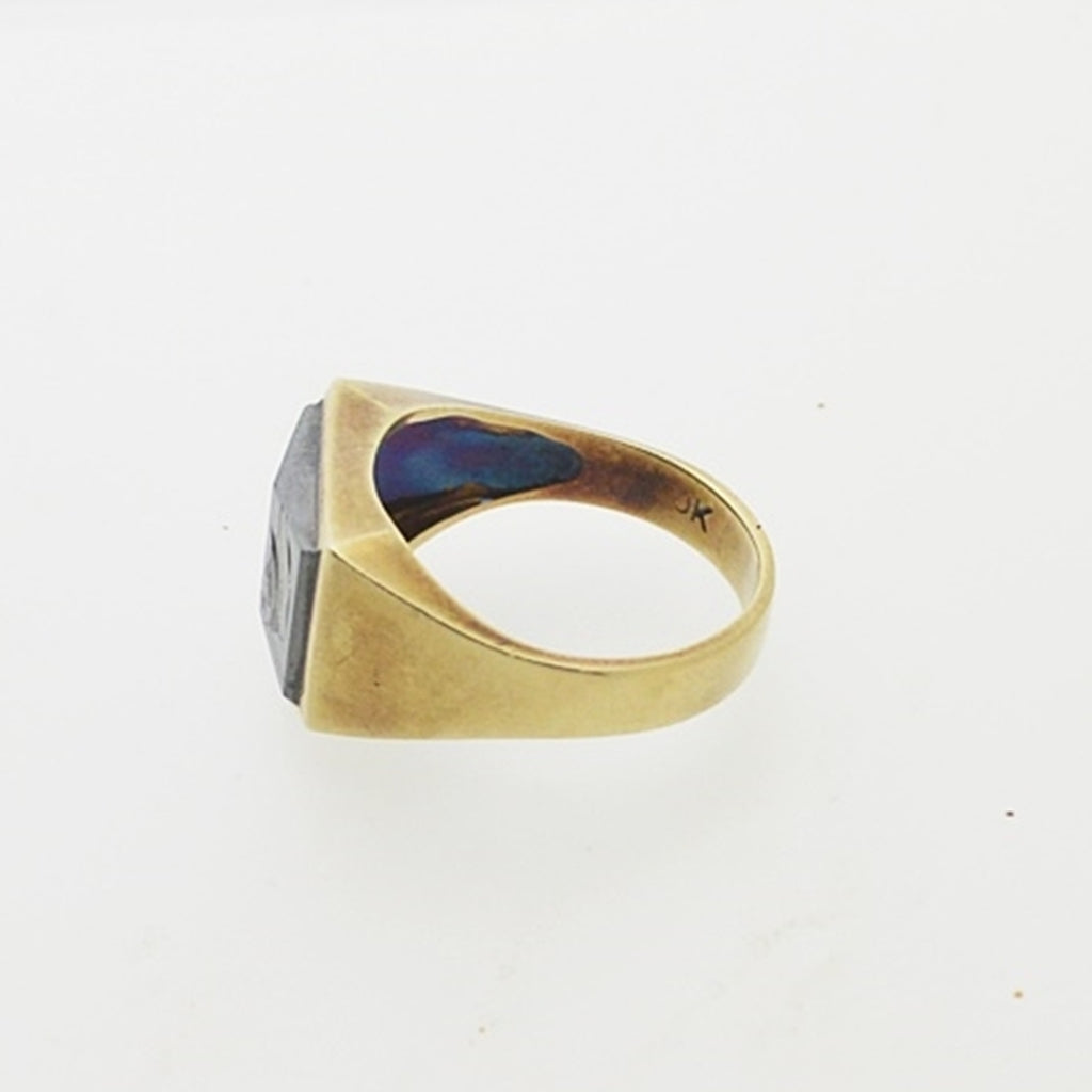 10k Yellow Gold Vintage Carved Hematite Ring Size 10.5