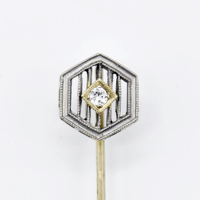 14k White Gold Antique Filigree Diamond Stick Pin