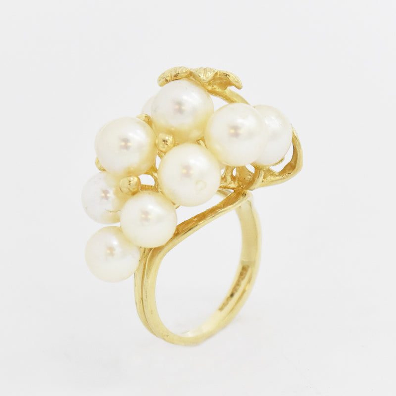 14k Yellow Gold Estate Pearl Cluster Ring Size 6