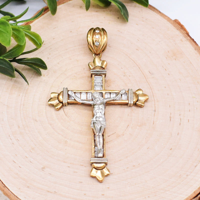 10k Yellow & WG Carved CZ Crucifix/Cross Pendant