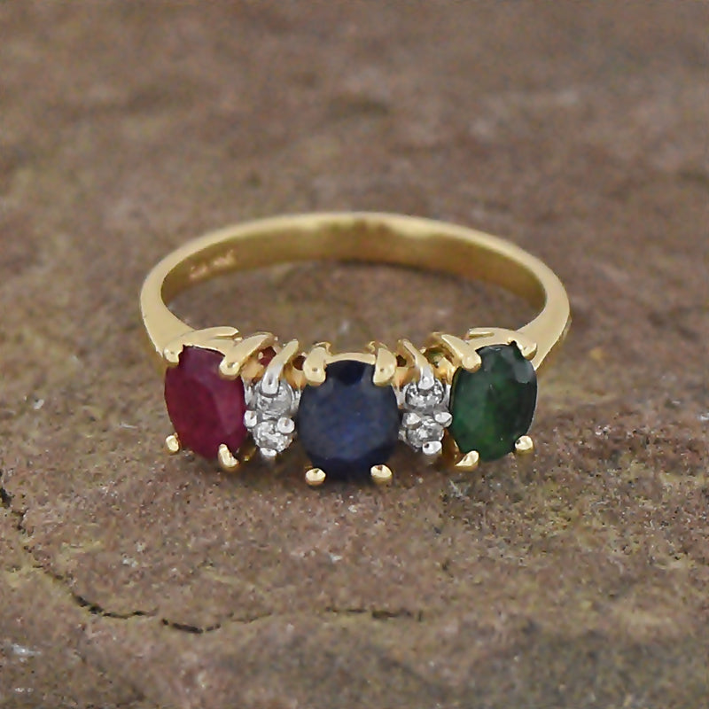 14k Yellow Gold Sapphire Ruby Emerald & Diamond Band/Ring Size 6
