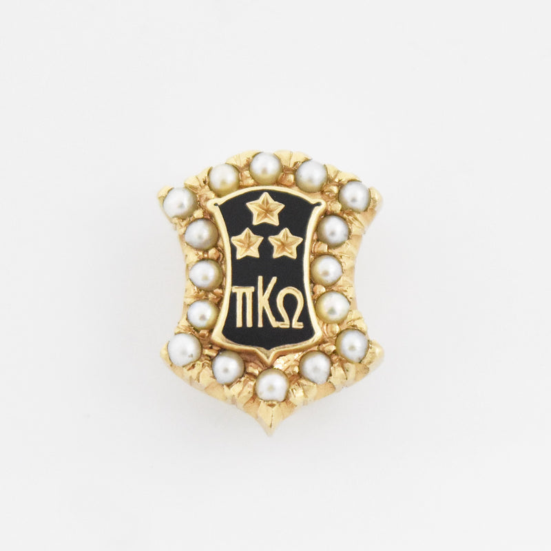 14k Yellow Gold Antique Pearl Black Enamel Pi Kappa Omega Pin