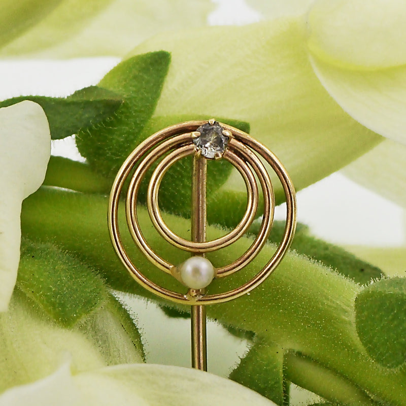 10k Yellow Gold Antique Diamond & Pearl Circle Stick Pin